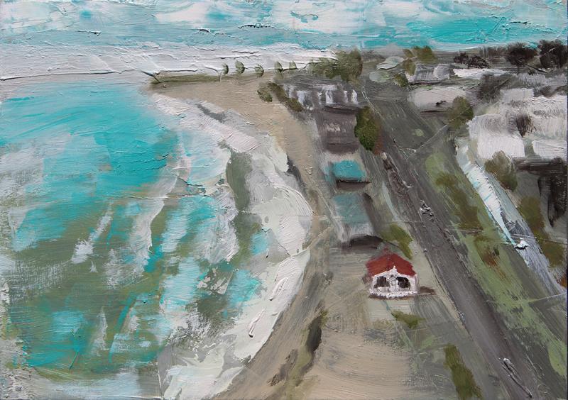 Abstract aerial ocean beach painting, oil painting, art for sale, paintings for sale, wendydavispaintings.com