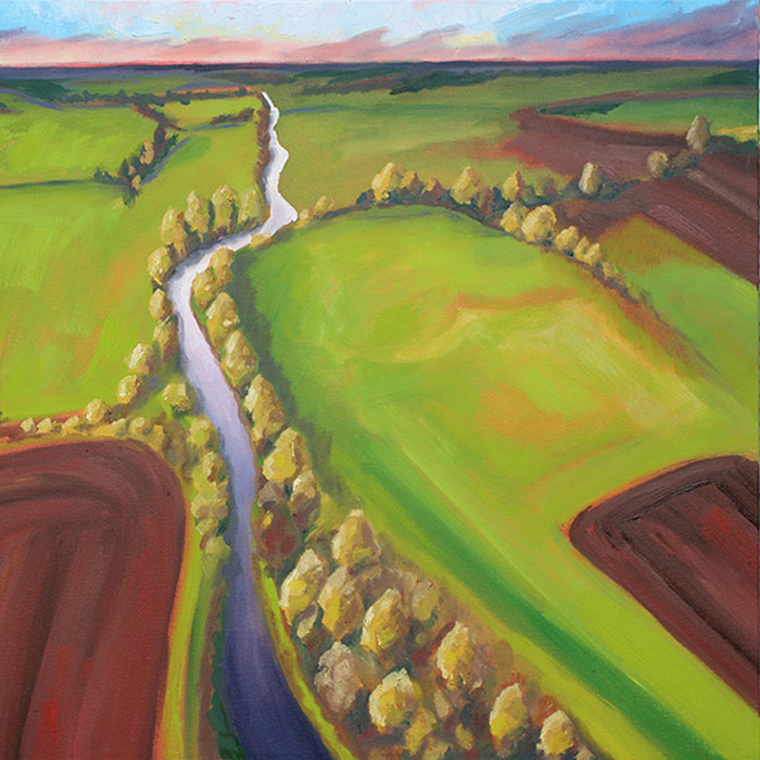 Mirror River painting, abstract aerial landscape painting, Wendy Davis, Pacific Northwest artist,oil painting, art for sale, paintings for sale, wendydavispaintings.com, Wendy Davis Artist