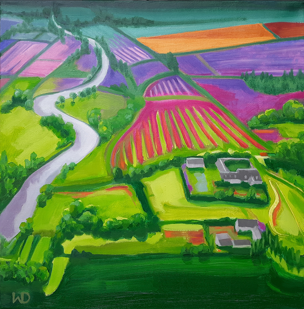 Strawberry Fields painting, aerial abstract expressionist painting,  oil painting, art for sale, paintings for sale, wendydavispaintings.com, Wendy Davis Artist