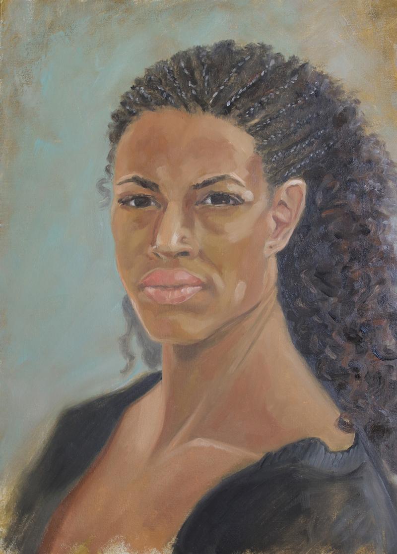 Black woman portrait, 18x24, oil painting, art for sale, paintings for sale, wendydavispaintings.com, Wendy Davis Artist